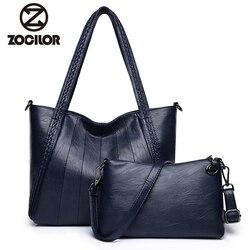 Luxury two sets Handbags Women Bags Designer PU Leather Handbags Bags For Women 2018 Large Hand Bag  Top-handle Bags