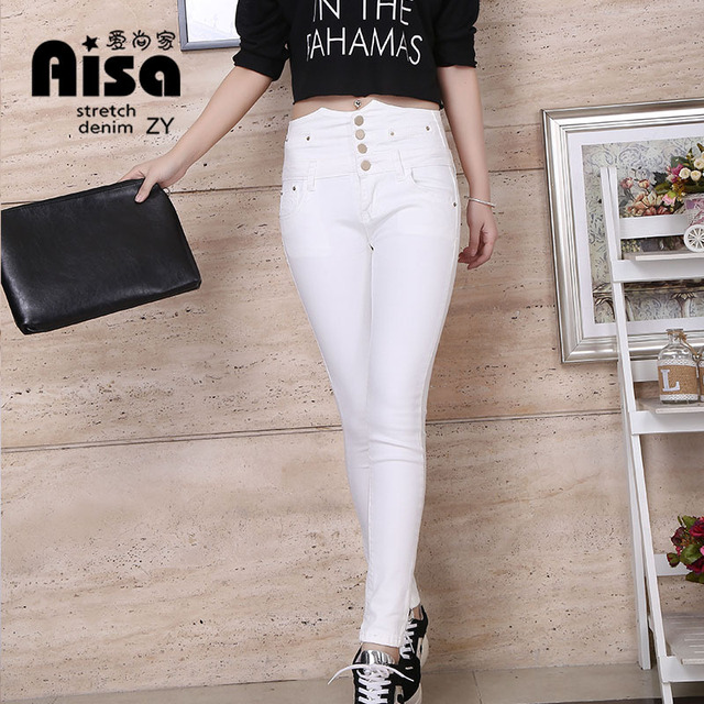 Brand 2016 New Womens Elastic High Waist Slim White Jeans Button ...