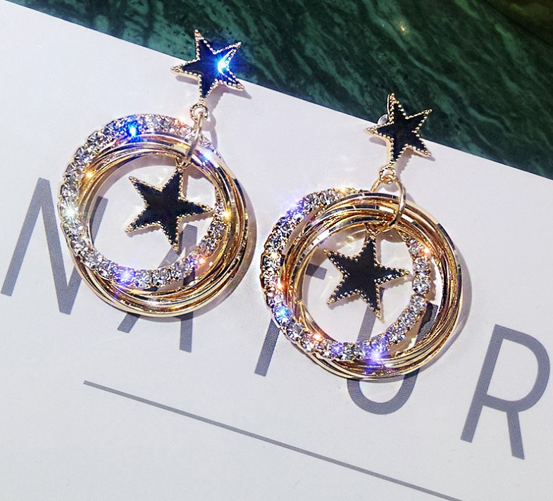 Moving-Star-Earrings Needle Crystal Silver S925 Flash Temperament Mother's-Day-Gift Multi-Layer