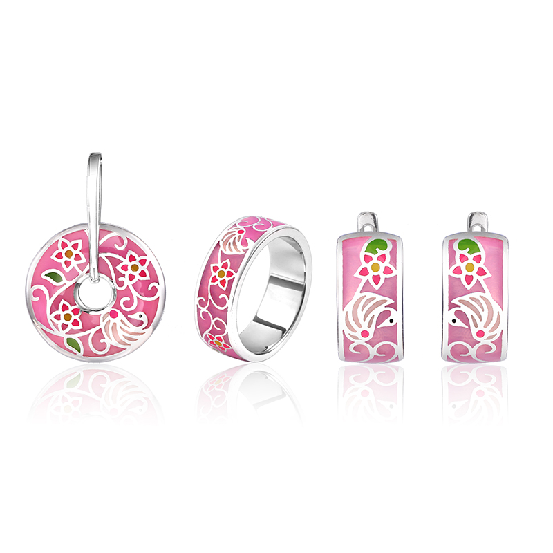 Fashion Pink Enamel Jewelry Set stub Earrings Pendant ring Original 925 Sterling Silver Jewelry For Women flower jewelry set pink rose jewelry enamel rings earrings pendant 925 sterling silver party fashion for women accessories