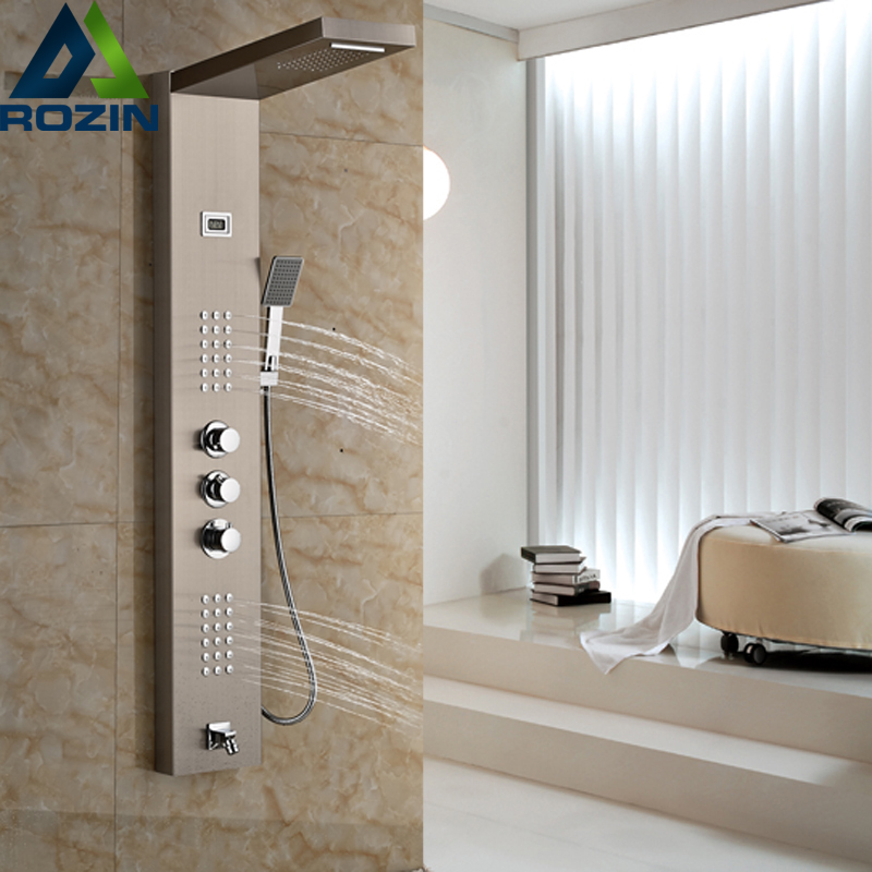 Brushed Nickel Thermostatic Shower Mixer Panel Wall Mount Stainless Steel Rain Waterfall with Massage Jet Shower Column картридж cactus cs c729m для canon i sensys lbp7010c lbp7018c пурпурный 1000стр