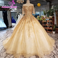 AOLANES 2018 Luxury Gold Lace Beading Tulle Half Sleeves Wedding Dresses Sweetheart Royal Train Lace Up Ball Gown Wedding Gowns