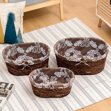 Rattan desktop storage basket snack box clothes finishing straw handmade woven