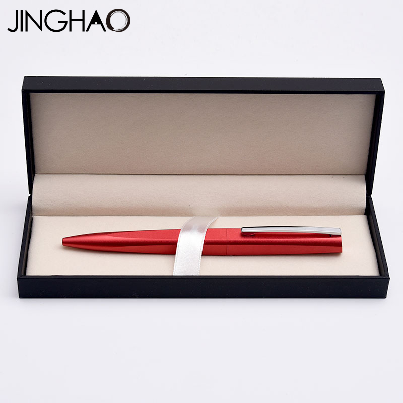Jinghao KACO SQUARE Luxury Red and Silver Clip Ballpoint Pen with Original Gift Case High Quality Metal Rollerball Pen for Gift jinghao kaco exact series noble matte silver rollerball pen with black clip 0 5mm metal ballpoint pens with original gift case