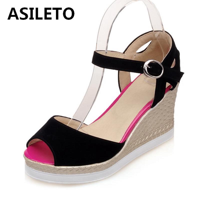 e7575ddbe0c YOUGOLUN Women Ankle Strap Sandals Summer Sexy Ladies Wedges Low Heel  Elegant Beading Woman Black Open toe ...