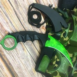 Image 4 - CS GO Emerald green design chic claw knife 9.8 calowy motylkowy nóż treningowy z pochwą i smycz na szyję tactics claw knife