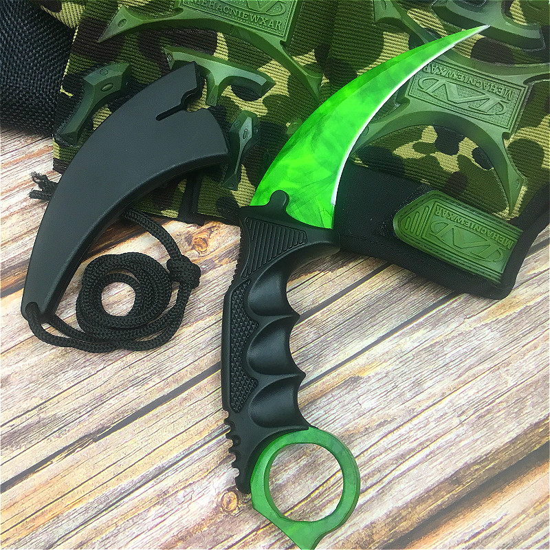Image 4 - CS GO Emerald green design chic claw knife 9.8 inch butterfly training knife with scabbard and neck rope tactics claw knife-in Knives from Tools