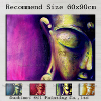 Pure Hand Painted Modern Buddha's Half Face Oil Painting 5 kind Color Religious Canvas Painting For Home or Temple Decor Art