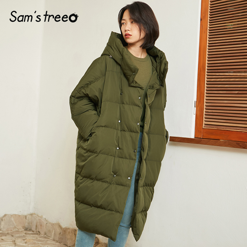 Samstree Korean Style Long Winter Women   Down     Coats   Hooded Loose Thick Parka   Coats   Oversize Snow Outwear