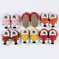 60 pairs/lot New hot sale Fox style In Winter with fur Genuine Leather Girl Boys handmade hard sole first walkers baby Shoes