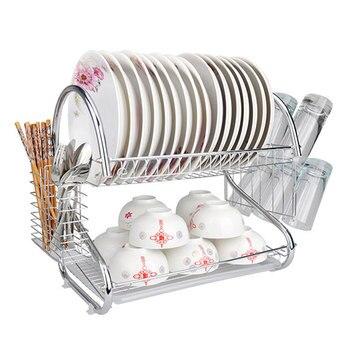 2 طبقات الحديد أدوات المائدة رف رف لوحة حامل أوعية عرض حامل المطبخ تخزين منظم طبق الرف السكاكين اكسسوارات