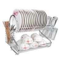 2 Layers Iron Tableware Shelf Rack Plate Bowl Stand Display Holder Kitchen Storage Organizer Dish Shelf Cutlery Accessories