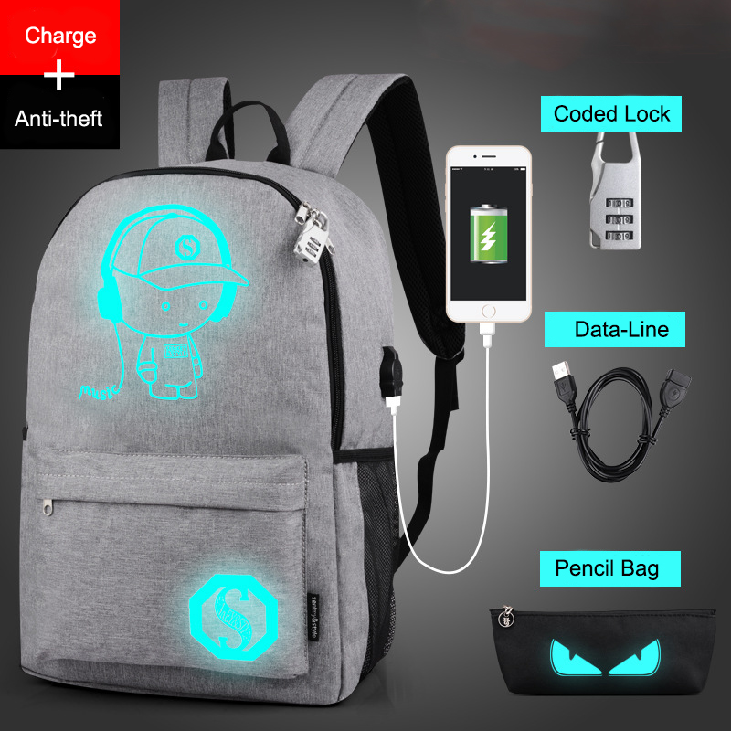 Raged Sheep School Backpack Student Luminous Animation School Bags For Teenager USB Charge Computer Anti theft