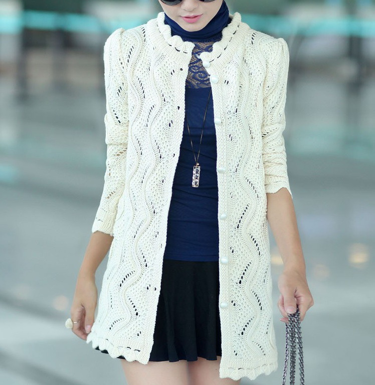 2015 Women Casual Knit Cardigan Sweater outwear Long Black ...
