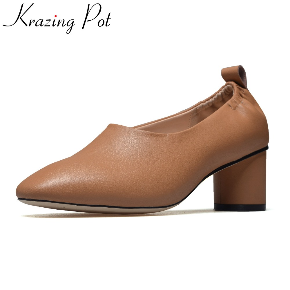 Krazing Pot 2018 brand spring shoes genuine leather high heels shallow nude women pumps high quality handmade runway shoes L8 krazing pot genuine leather original design thick med heels shallow women nude concise pumps pointed toe solid brand shoes l11