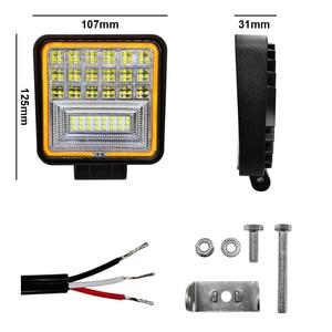 Image 3 - 126W LED luz de trabajo cuadrado doble Color funcionamiento automático luz todoterreno ATV camión Tractor Auto luz IP68 clase impermeable y a prueba de polvo