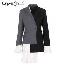 TWOTWINSTYLE Patchwork Chiffon Asymmetrical Coat Female Jacket Flare Long Sleeve Women's Blazer Costume Fashion Clothes Autumn