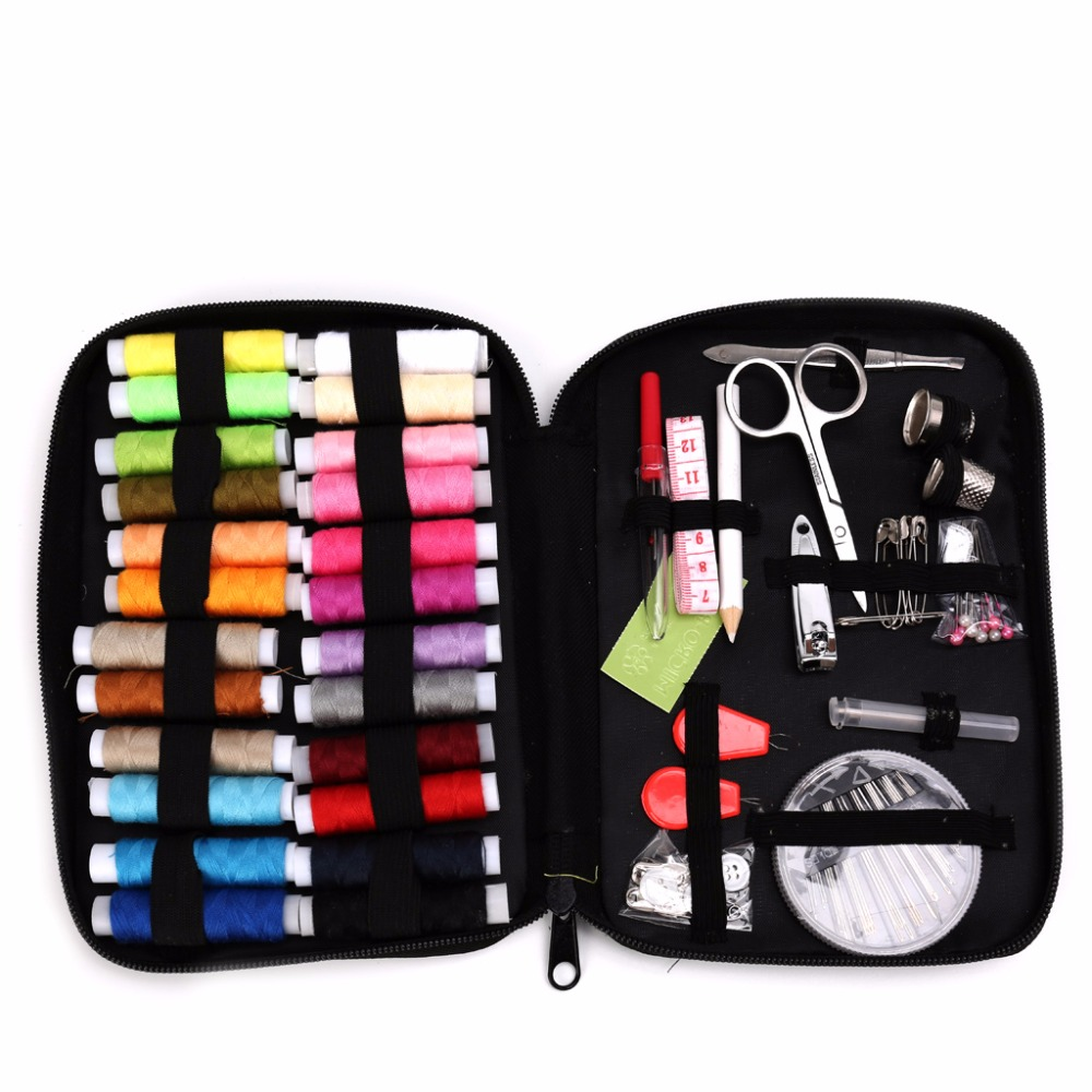 Portable Sewing Kit Box Threads Needles Buttons Scissor Travel Home DIY Handwork Tool Crochet Hooks Stitches Needle Safty Pin