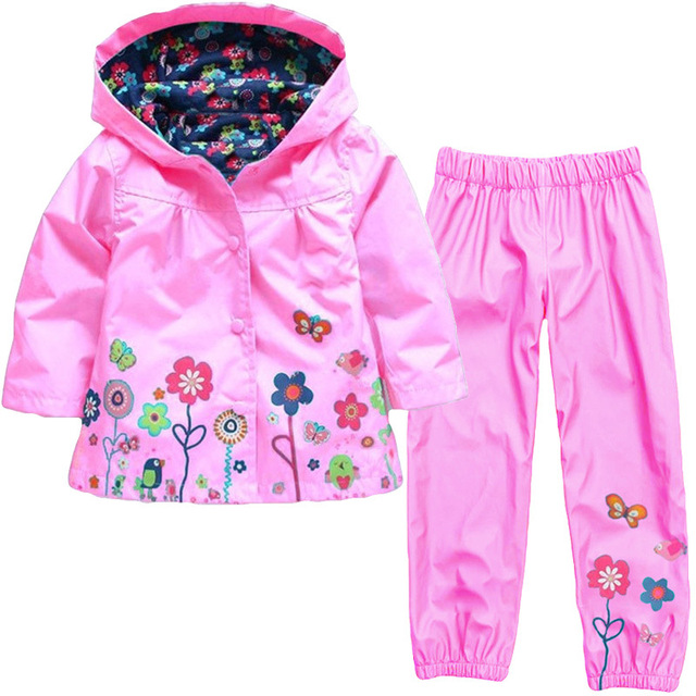 Girls Clothing Raincoat Sets Autumn Baby Casual Hoodie Jackets Pants Kids Spring Sport Suit Children Waterproof Coat Outfit 4