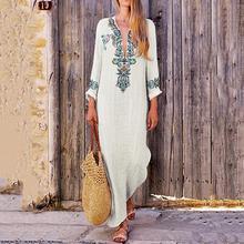 Hot Women Dress Fashion Ladies Kaftan Print V Neck Casual Summer Dress Slit Sexy Long Sleeve Boho Cotton Linen Loose Maxi Dress