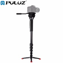PULUZ Four-Section Telescoping Aluminum-magnesium Alloy Self-Standing Monopod + Fluid Head with Support Base Bracket