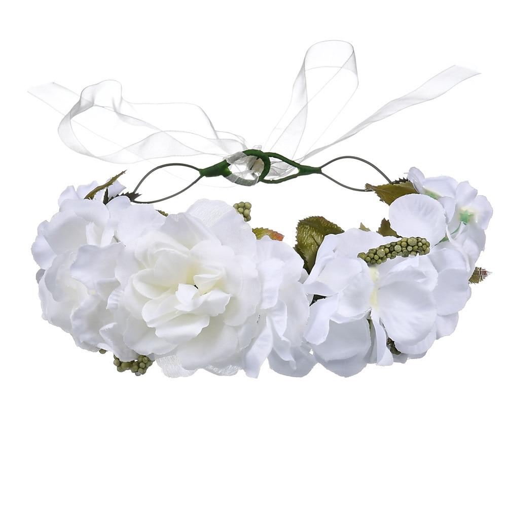 Flower Crown Floral Wreath Headband Girls Womens Headpiece White