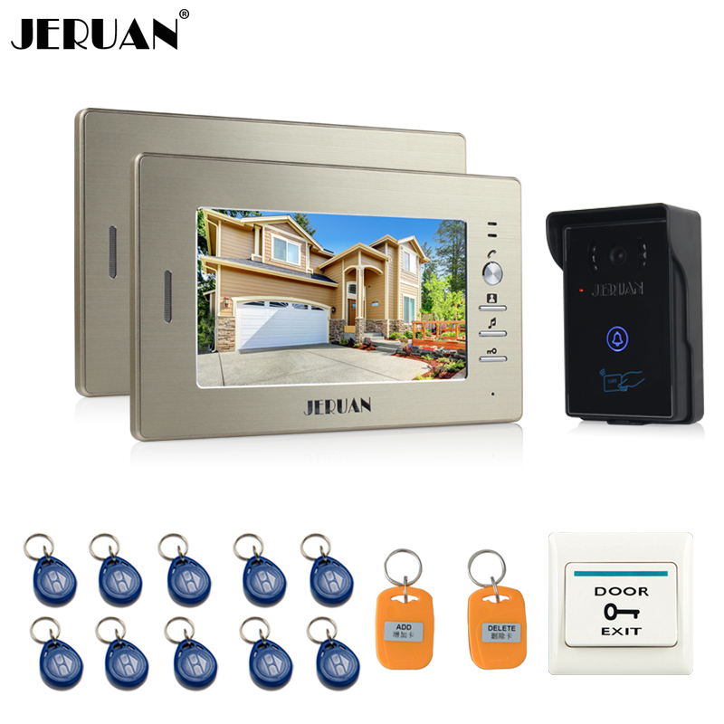 JERUAN 7`` LCD Screen Video Intercom Video Door Phone System 2 monitors + 700TVL RFID Access Waterproof Touch key Camera