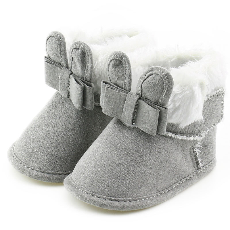 2019 Brand New Newborn Baby Infant Toddler Girl Boots Crib Shoes Bow Prewalkers Furry Snow Winter Warm Boots Bowknot Walkers