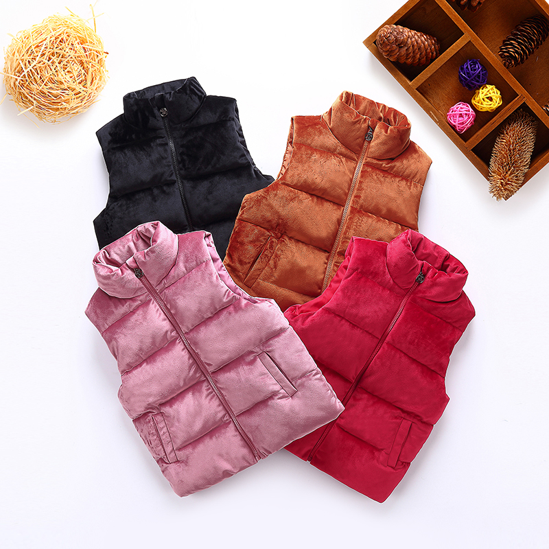 Autumn and winter baby baby sleeveless clothes boys and girls Plush quilted sleeveless vest children down jacket padded vest