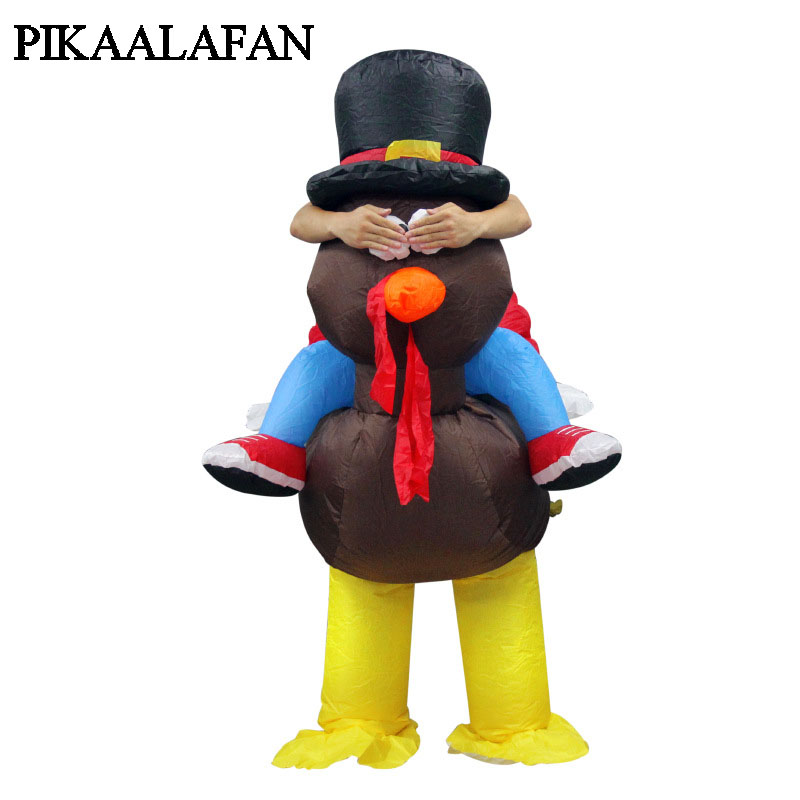 PIKAALAFAN Hot Sale Thanksgiving Turkey Inflatable Clothing Halloween Funny Uniforms Dance Party Clothing Inflatable Costum Toys