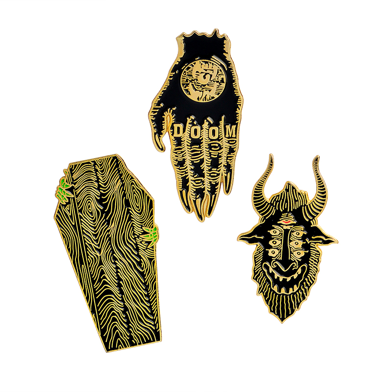 QIHE JEWELRY Hands of doom satan sees all coffin pins Gothic pins Punk pins Badges Brooches Leather jackets Backpack accessories