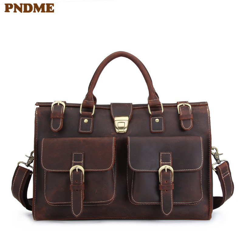PNDME Retro Business Genuine Leather Men's Briefcase Large Capacity Crazy Horse Cowhide Anti Theft Office Messenger Laptop Bags