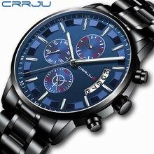 2019 Новая мода CRRJU Топ бренд класса люкс деловые мужские часы повседневные хронограф из нержавеющей стали Кварцевые наручные часы relojes hombre