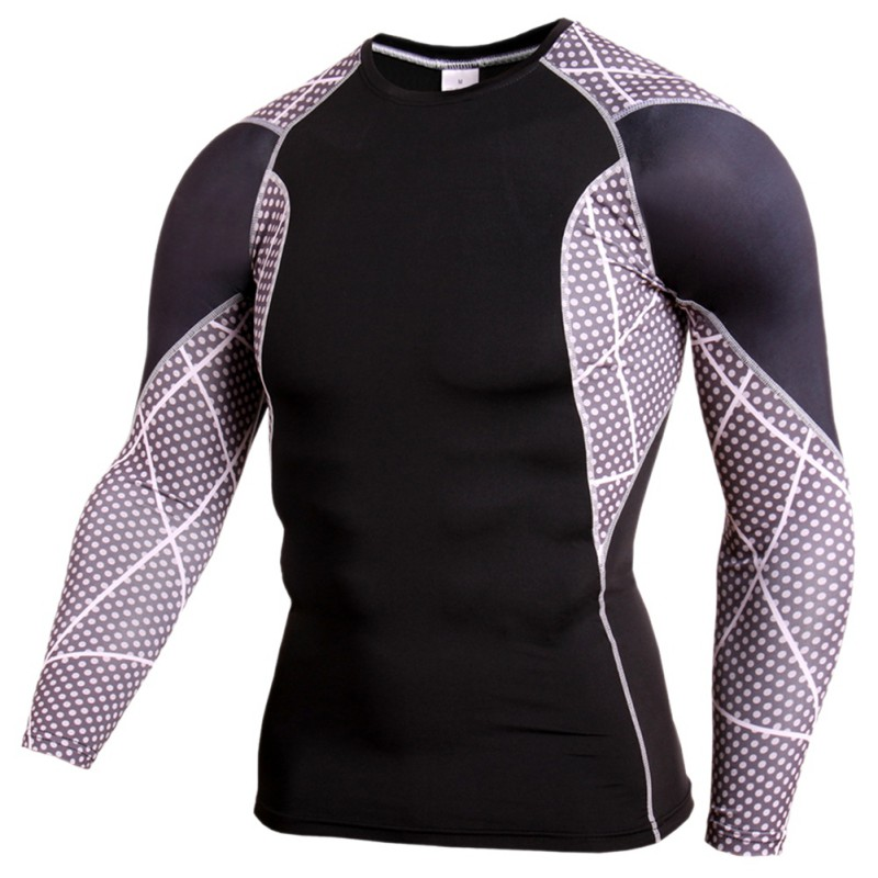 2017 Compression Baselayer Men Fitness Long Sleeve Muscle Bodybuilding Plain Quick-Drying Clothes Sport Cross fit Running Shirts