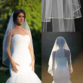 "2017 Short Fingertip Wedding veil with blusher double tier fingertip veil with 1/8"" corded satin trim satin cord trim Bridal vei"