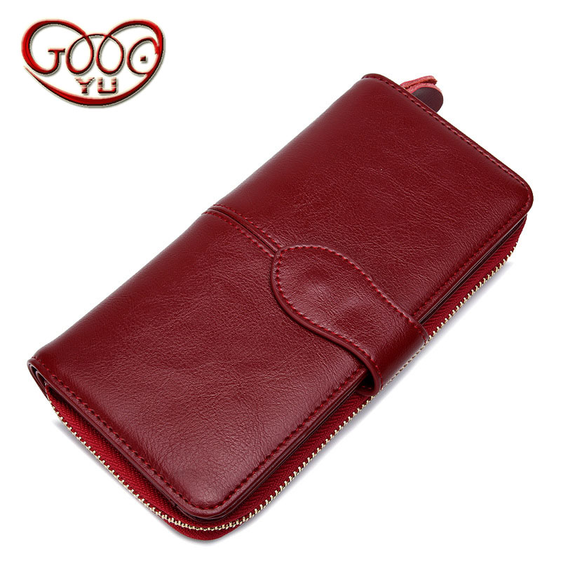 Long ladies cattle two leather wallet retro fashion zipper wallet Europe and the United States simple and practical wallet handb