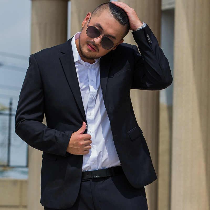 be478f29458 2018 new Mens black colour obese 9xl suit set high quality blazer very big  dress suit