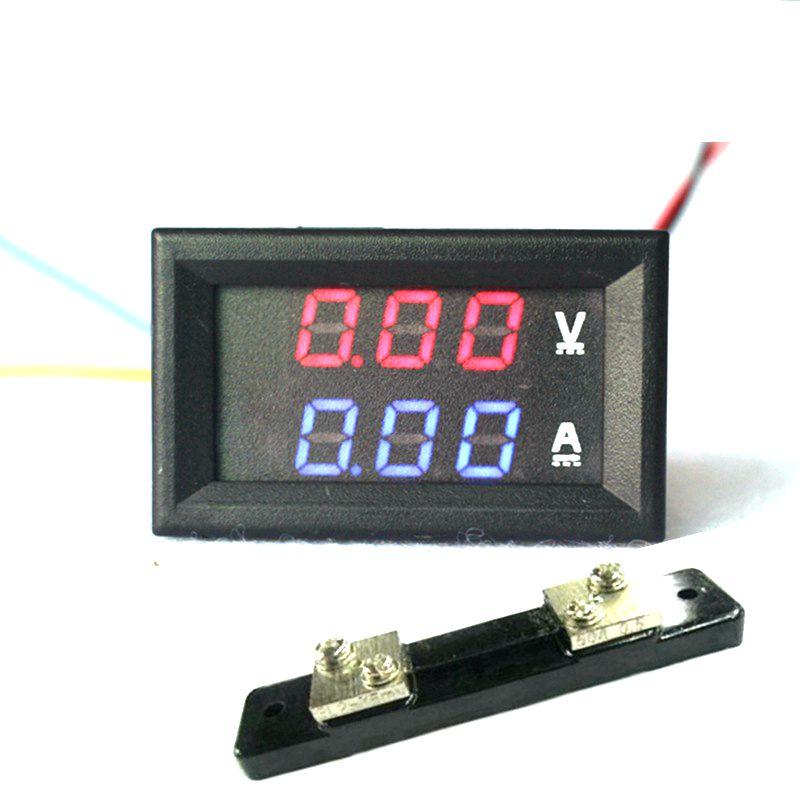 """<font><b>2</b></font> in <font><b>1</b></font> DC Volt Amp Dual display Meter 0.28"""" DC 0-100V/50A Red Blue Digital Voltmeter Ammeter With Ampere Shunt"""