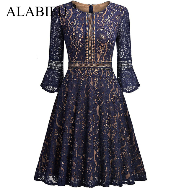 46121f464cb4c US $23.96 49% OFF|ALABIFU Summer Dress 2019 Women Vintage Sexy Hollow Out  Lace Dress Elegant Casual Ball Gown Party Dress Black vestidos ukraine-in  ...