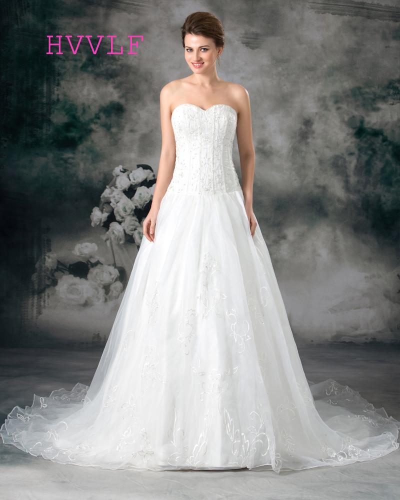 Backless Wedding Dresses 2019: Backless 2019 Wedding Dresses A Line Sweetheart Embroidery