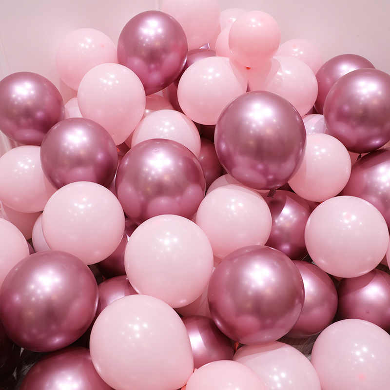 12pcs/lot Pink Latex Balloon Chrome Gold Silver Gold Chrome Metallic Wedding Bridal Shower Theme Party Air Helium Decor Balloons