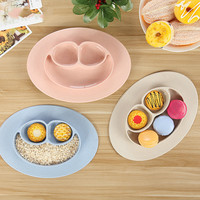 Green Organic Green Wheat Straw Integrals Children Tray Chicken Infant Food Boxes Tableware Storage Gadgets