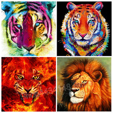 New Tiger DIY 5D Diamond Mosaic Color Lion Handmade Painting Cross Stitch Set Embroidery Rhinestone Art