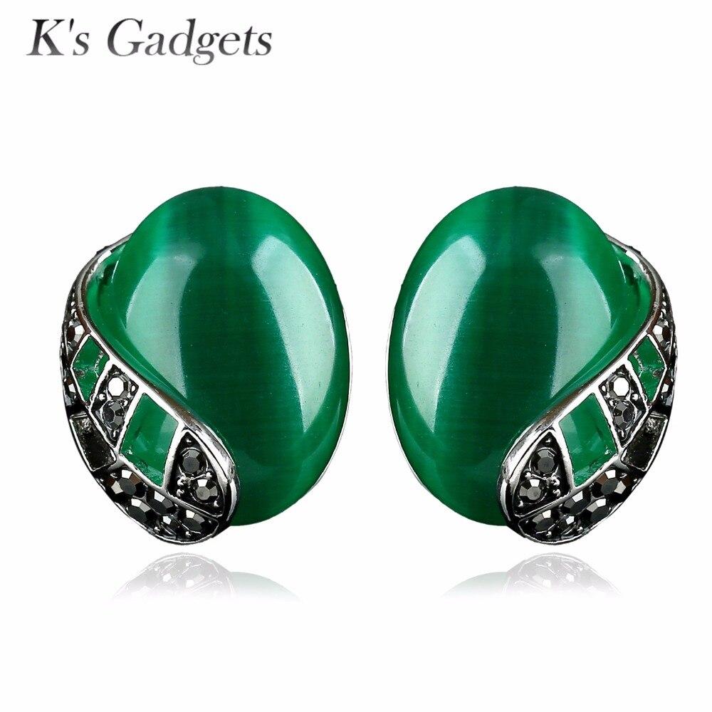 Women Green Stud Earrings Big Oval Natural Opal Stone Black Rhinestone  Silver Plated Earrings Vintage Jewelry