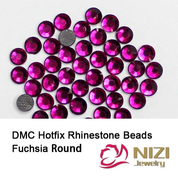 DMC Hotfix Rhinestones Fuchsia Color DIY Strass For Garment Accessories Round Glass Flatback Rhinestones New Strass aaaa quality rainbow dmc flatback crystals hot fix rhinestones garment accessories gray glue ss6 ss8 ss10 ss16 ss20 ss30