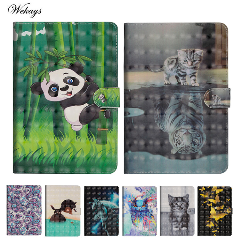 Wekays For Samsung Tab A6 10.1 T580 Cartoon 3D Leather Case For Samsung Galaxy Tab A6 A 6 2016 10.1 T585 T580 SM-T585 Cover Case heavy duty silicone hard case cover protector stand tablet for samsung galaxy tab a a6 10 1 2016 t585 t580 sm t580 stylus