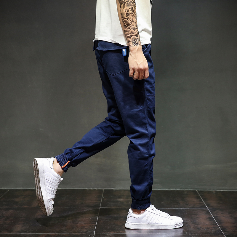 Navy Blue Color Fashion Mens Jeans Jogger Pants Slim Fit Boot Cut Pencil Pants Brand Denim Ankle Banded Pants Full Size 28-40