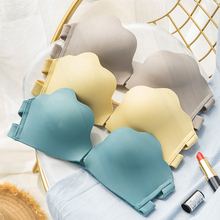 Roseheart Summer Women Fashion Blue Gray Sexy Lingerie Front Closure Invisible Bras Cotton Panties Wireless Bra Sets Underwear