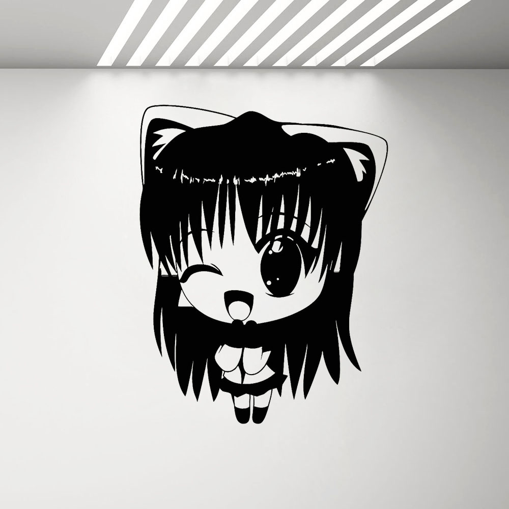 Us 5 97 29 offvinyl wall decal manga anime girl kids room stickers mural cute cartoon wall sticker bedroom japanese comic girls decals g282 in wall