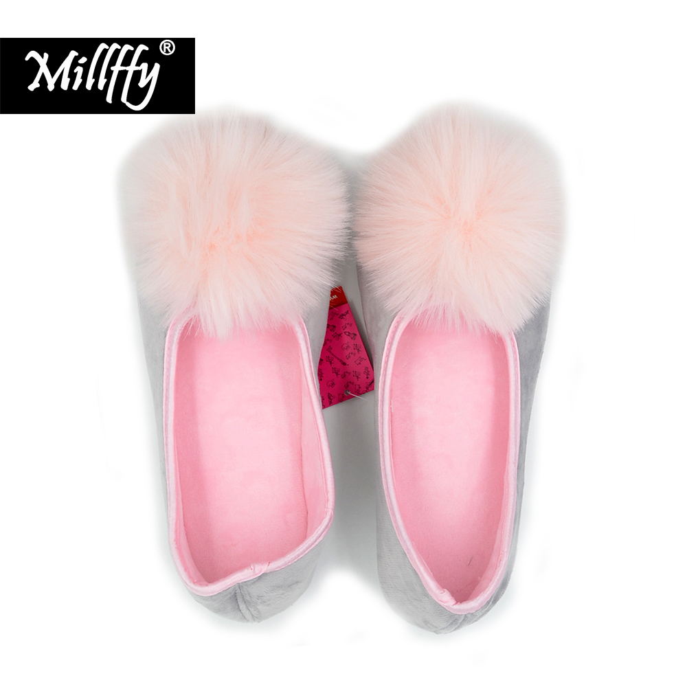 Millffy new spring and autumn fluffy pink fur rabbit ball jelly shoes woman ballerina shoes sneakers